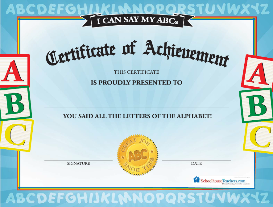 certificate know certificates abcs library pre colors elementary awards letters shapes achievement schoolhouseteachers say numbers abc does