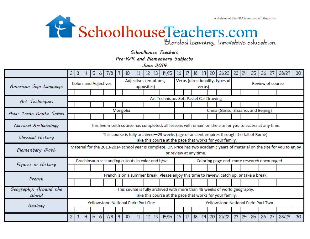 June 2014-PreK-Elem Checklist Image