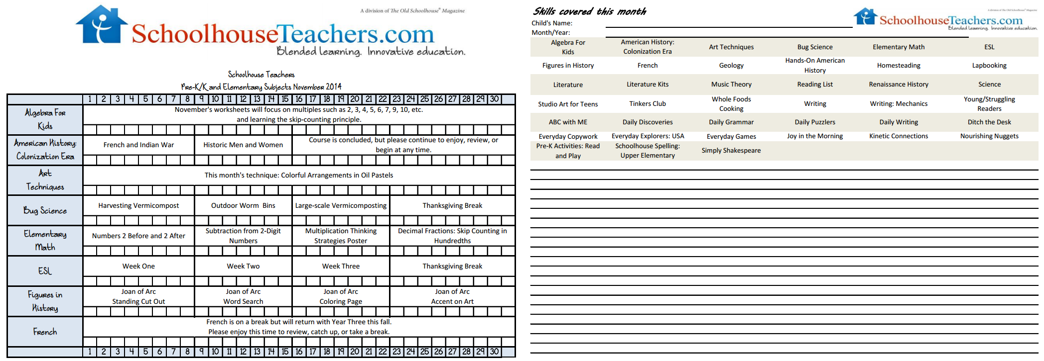 Printable checklists for Pre-K/Elem, Middle School, and High School