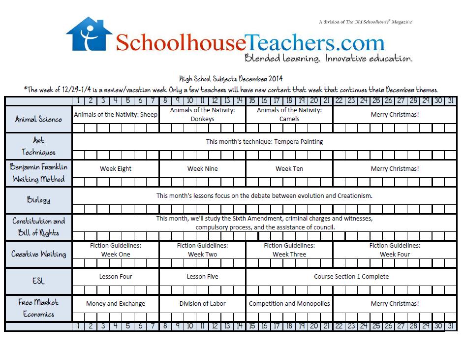 December 2014 High School Checklist