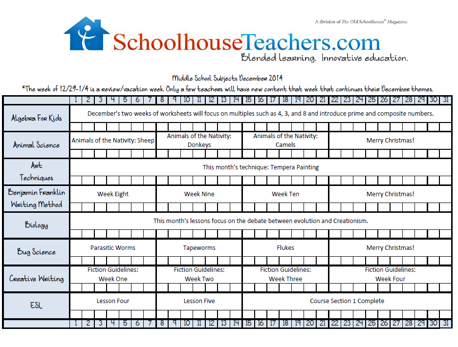 December 2014 Middle School Checklist