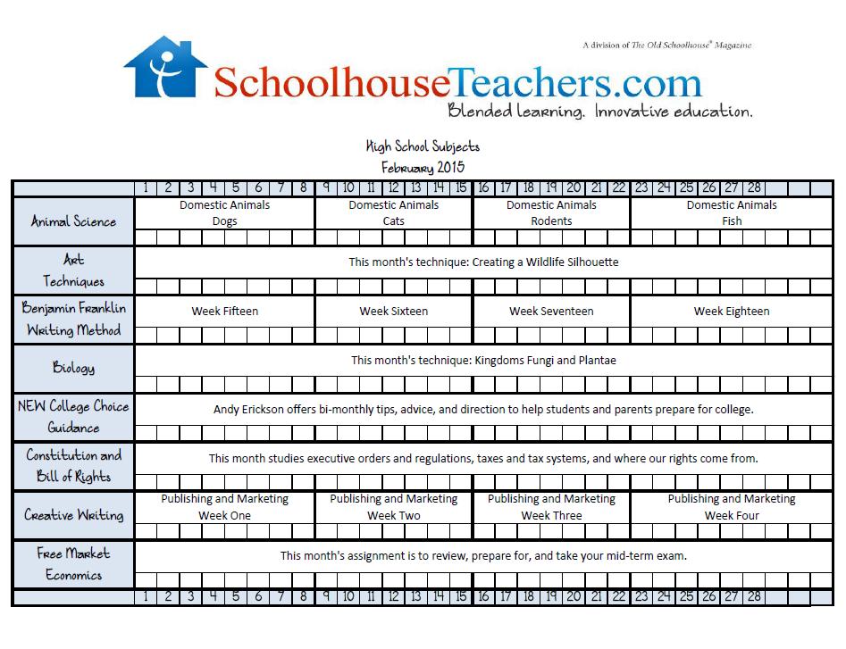 February 2015 High School Checklist image