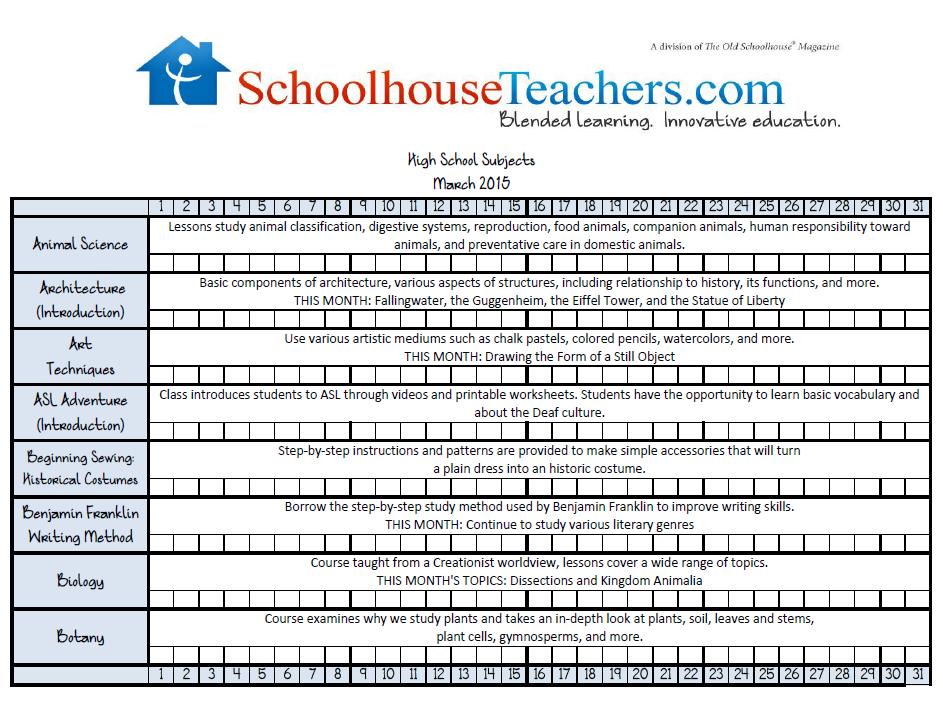 March 2015 High School Checklist image