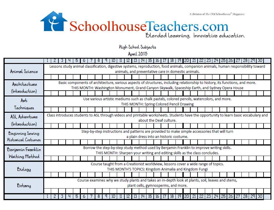 April 2015 High School Checklist