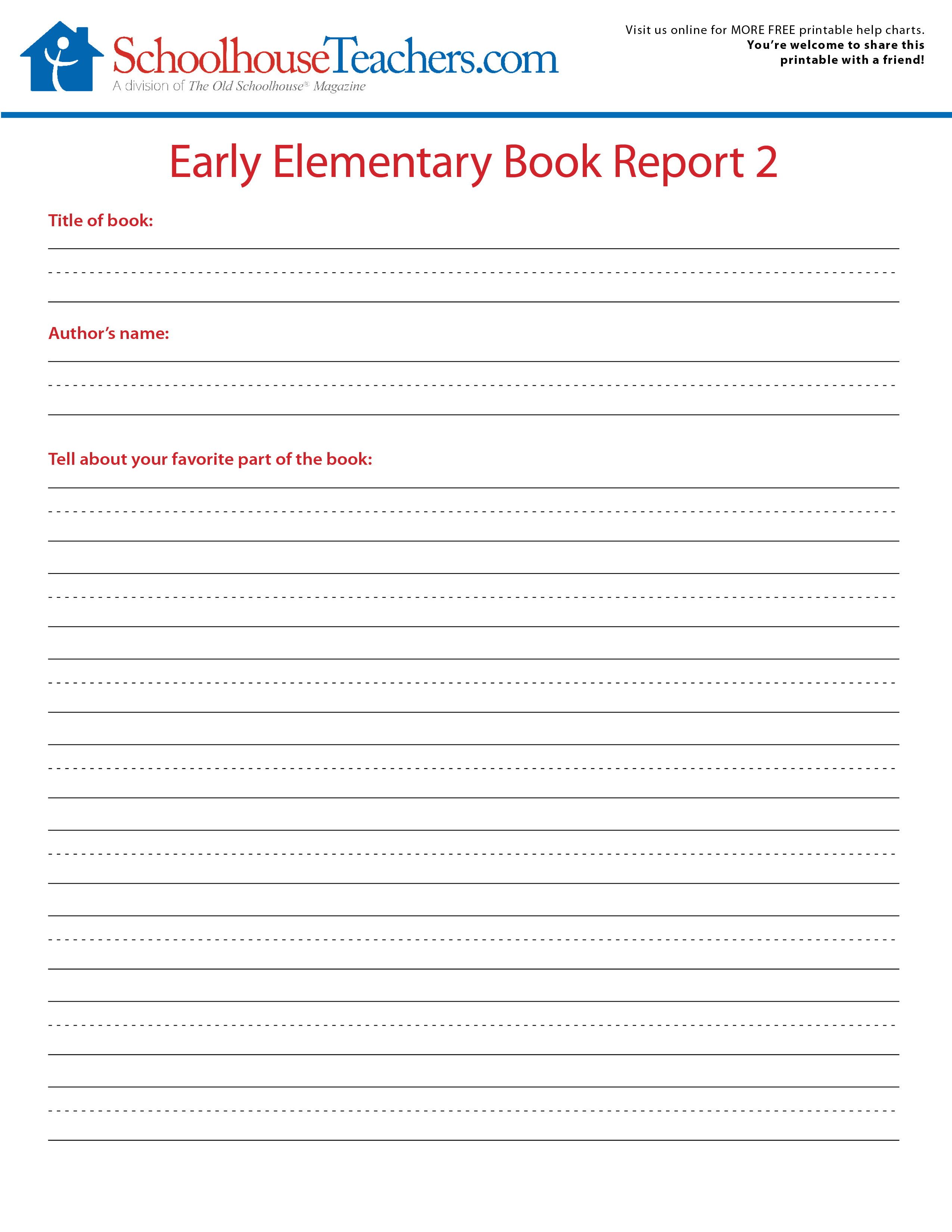 2 FREE Elementary school book report print-out forms (+more freebies!)