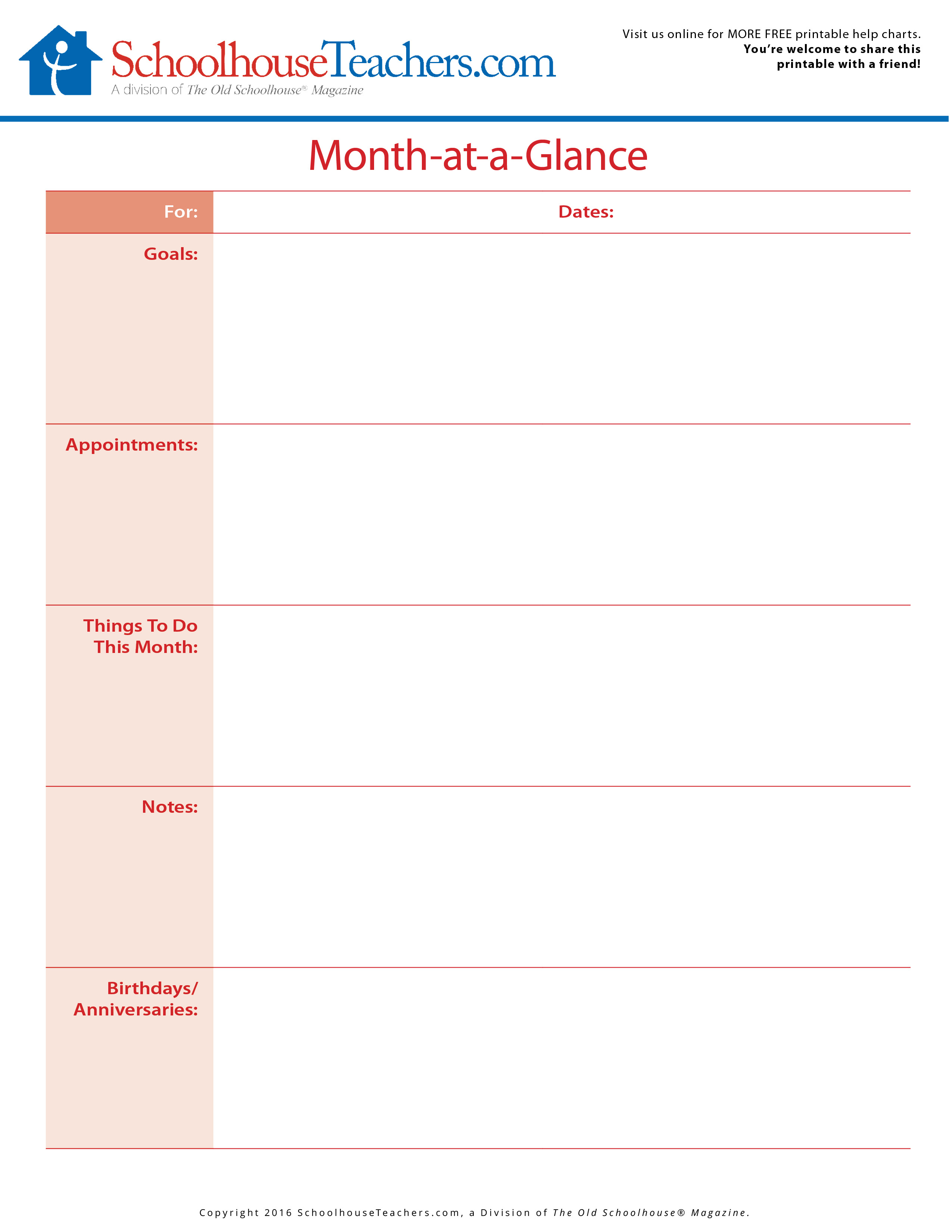 free printable monthly goals and month at a glance planner