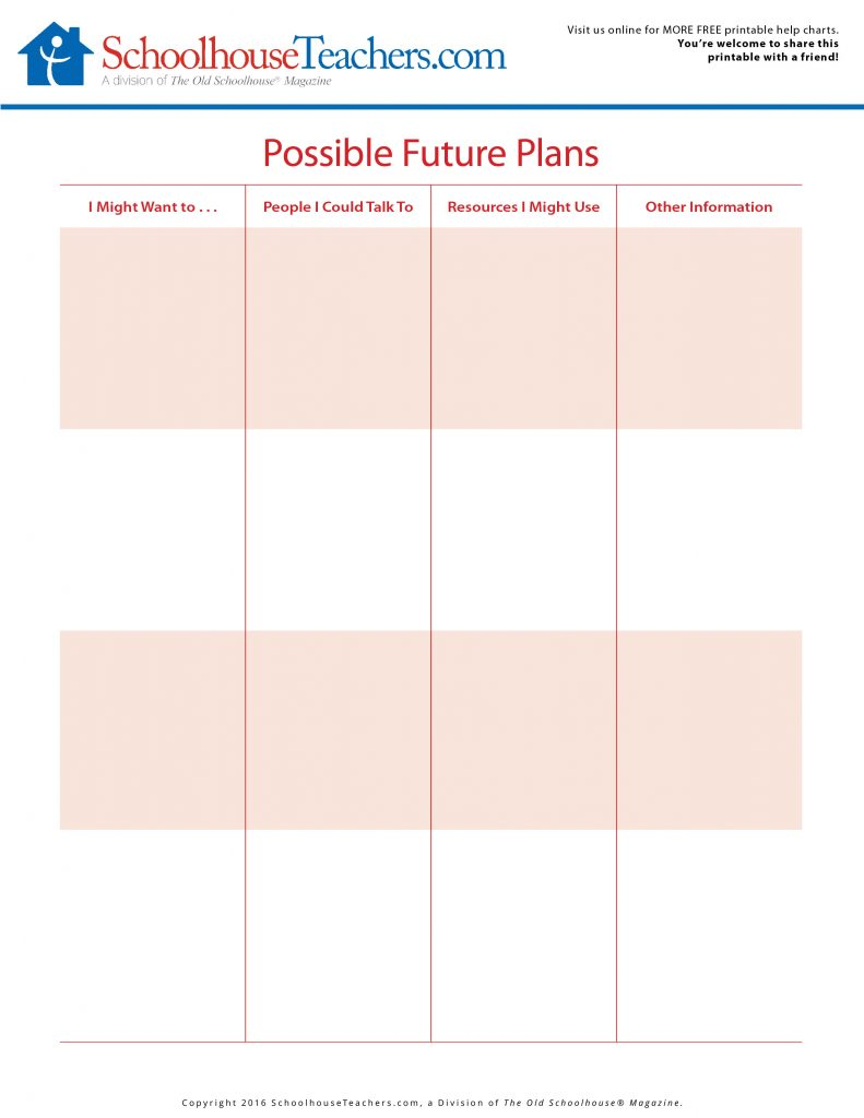 Future planning worksheets set goals and overcome obstacles for Future planner online