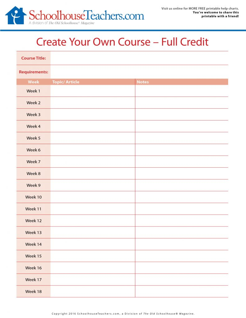 how to create a curriculum for a course
